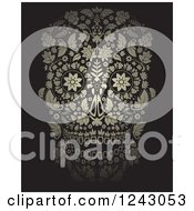 Clipart Of A Floral Day Of The Dead Skull On Black Royalty Free Vector Illustration by lineartestpilot