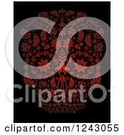 Clipart Of A Floral Red Day Of The Dead Skull On Black Royalty Free Vector Illustration