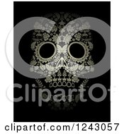 Poster, Art Print Of Floral Day Of The Dead Skull On Black