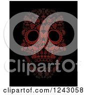Clipart Of A Floral Red Day Of The Dead Skull On Black Royalty Free Vector Illustration by lineartestpilot
