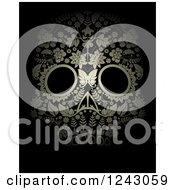 Clipart Of A Floral Day Of The Dead Skull On Black Royalty Free Vector Illustration
