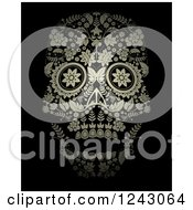 Floral Day Of The Dead Skull On Black