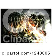 Clipart Of A Painting Of A Fire Breathing Dragon Royalty Free Illustration by lineartestpilot