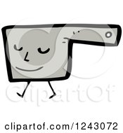 Clipart Of A Walking Gray Pot Royalty Free Vector Illustration by lineartestpilot