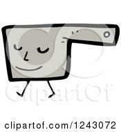 Clipart Of A Walking Gray Pot Royalty Free Vector Illustration