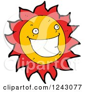 Clipart Of A Happy Sun Royalty Free Vector Illustration by lineartestpilot