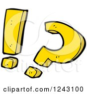 Clipart Of A Yellow Question Mark And Exclamation Point Royalty Free Vector Illustration