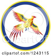 Clipart Of A Colorful Flying Pheasant Bird In A Circle Royalty Free Vector Illustration