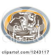 Clipart Of Retro Woodcut Car Mechanics Working On An Engine In An Oval Royalty Free Vector Illustration by patrimonio