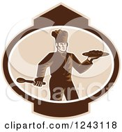 Clipart Of A Retro Woodcut Male Chef Holding Food On A Platter In An Oval Royalty Free Vector Illustration