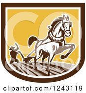 Clipart Of A Retro Woodcut Farmer And Horse Plowing A Field In A Shield Royalty Free Vector Illustration