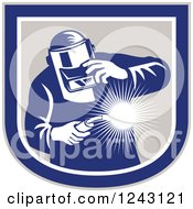 Clipart Of A Retro Male Welder Holding A Torch In A Shield Royalty Free Vector Illustration