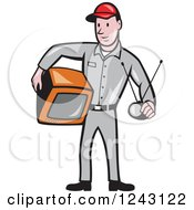 Clipart Of A Cartoon Male Television Technician Holding A Tv And Antenna Royalty Free Vector Illustration by patrimonio