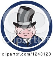 Clipart Of A Chubby Short Man In A Top Hat And Suit In A Circle Royalty Free Vector Illustration