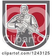 Clipart Of A Retro Male Soldier Holding An Assault Rifle In A Shield Royalty Free Vector Illustration