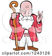 Clipart Of A Cartoon Bearded Old Man Gesturing Peace And Holding A Cane Royalty Free Vector Illustration