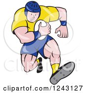 Clipart Of A Cartoon Male Rugby Player Running With A Ball Royalty Free Vector Illustration