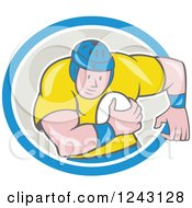 Clipart Of A Cartoon Male Rugby Player Running With A Ball In An Oval Royalty Free Vector Illustration by patrimonio