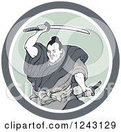 Retro Samurai Warror Swinging A Katana Sword In A Circle