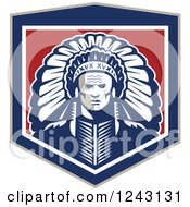 Clipart Of A Retro Native American Indian Chief With A Feather Headdress In A Shield Royalty Free Vector Illustration