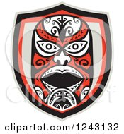 Clipart Of A Tribal Maori Mask Shield Royalty Free Vector Illustration by patrimonio