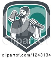Male Lumberjack With An Axe In A Shield