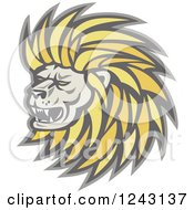 Clipart Of A Growling Male Lion Head Royalty Free Vector Illustration by patrimonio