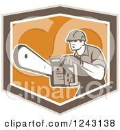Retro Arborist Using A Chainsaw In An Orange And Brown Shield