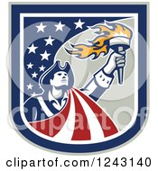 Clipart Of A Retro Male American Patriot With A Torch In A Stars And Stripes Shield Royalty Free Vector Illustration
