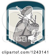 Clipart Of A Retro Scotsman Playing Bagpipes In A Shield Royalty Free Vector Illustration #1243141 by patrimonio
