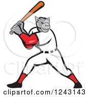 Clipart Of A Cartoon Panther Baseball Player Batting Royalty Free Vector Illustration