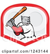 Clipart Of A Cartoon Panther Baseball Player Batting In A Shield Royalty Free Vector Illustration