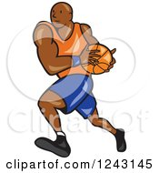 Clipart Of A Cartoon Black Male Basketball Player Running Royalty Free Vector Illustration