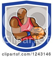 Clipart Of A Cartoon Black Male Basketball Player Running In A Shield Royalty Free Vector Illustration