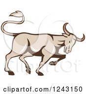 Clipart Of A Profiled Bull Charging Royalty Free Vector Illustration