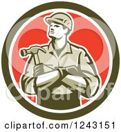 Clipart Of A Retro Male Carpenter With Folded Arms And A Hammer In A Circle Royalty Free Vector Illustration