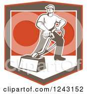 Clipart Of A Retro Male Carpet Cleaner Working In A Shield Royalty Free Vector Illustration