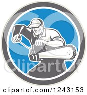 Clipart Of A Retro Male Arborist Starting Up A Chainsaw In A Blue Circle Royalty Free Vector Illustration