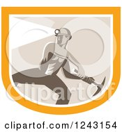 Clipart Of A Retro Shirtless Coal Miner Swinging A Pickaxe And Wearing A Light On A Hardhat In A Shield Royalty Free Vector Illustration