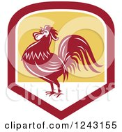 Clipart Of A Retro Red Crowing Rooster In A Shield Royalty Free Vector Illustration