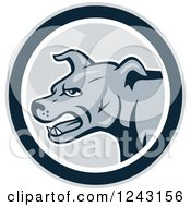Clipart Of A Cartoon Gray Attacking Guard Dog In A Circle Royalty Free Vector Illustration by patrimonio