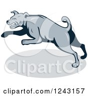 Clipart Of A Cartoon Gray Attacking Guard Dog Royalty Free Vector Illustration by patrimonio