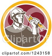 Clipart Of A Retro Male Electrician Holding A Bolt In A Red And Yellow Circle Royalty Free Vector Illustration by patrimonio