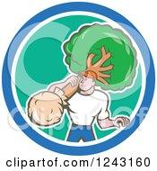 Clipart Of A Cartoon Male Gardener Or Landscaper Carrying A Tree In A Circle Royalty Free Vector Illustration
