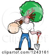 Cartoon Male Gardener Or Landscaper With A Shield And Tree