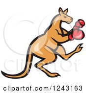 Clipart Of A Cartoon Kangaroo In Boxing Gloves Royalty Free Vector Illustration by patrimonio
