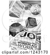 Clipart Of A Grayscale Background Of 3d Job Word Collage Cubes And Spheres Royalty Free Illustration by MacX