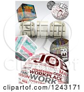 Clipart Of A Background Of 3d Job Word Collage Cubes And Spheres With SEO Royalty Free Illustration by MacX