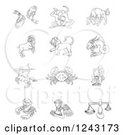 Clipart Of Black And White Outlined Zodiac Star Signs Royalty Free Vector Illustration
