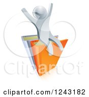 Clipart Of A 3d Silver Person Sitting And Cheering On Books Royalty Free Vector Illustration